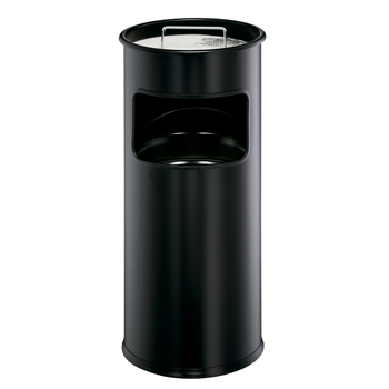 Papierkorb Metall 17 Liter mit Ascher rund 2 Liter, schwarz