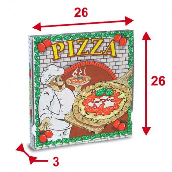 Pizzaschachteln 26 x 26 x 3 cm mit Motiv, Pack à 100 Stück