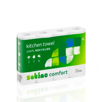 Satino prestige Toilettenpapier 3-lagig, 250 Cps. hochweiss, 100% Zellstoff, FSC, 9.4 x 12.cm, Pack à 8 Rollen