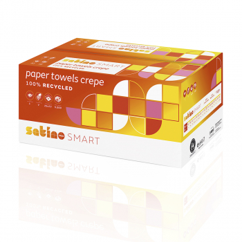 Satino Recycling-Papierhandtücher 1-lagig, weiss/Natur, 25X23cm, 100% Recycling,  Karton à 5'000 Stück