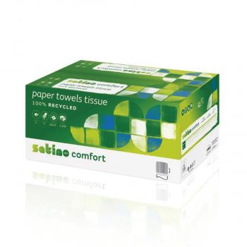 Satino comfort Recycling-Papierhandtücher 2-lagig, hochweiss, 25*41 cm, C-Falzung, Karton à 2'304 Stück