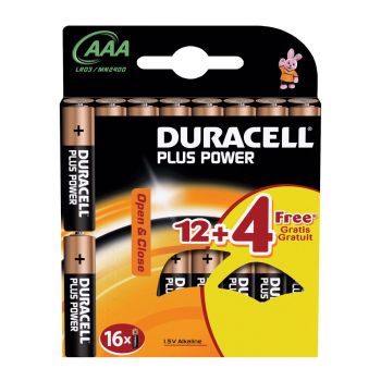 DURACELL 16 Batterie Plus Power, modèle MN2400 AAA, LR03, 1.5 Volt