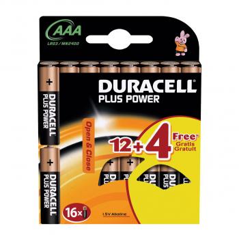 DURACELL 16 Batterie Plus Power, modèle MN2400 AAA, LR03, 1.5 Volt