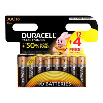 DURACELL 16 Batterie Plus Power, modèle MN1500 AA, LR6, 1.5 Volt