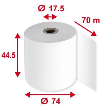 Thermorollen Phenolfrei 44.5 mm / 70 m / 17.5 mm, weiss, Schicht aussen, Durchmesser 74 mm, Pack à 5 Stück