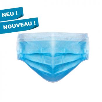 Mundschutzmasken,Typ I,  3-lagig mit Elastikbänder, Box à 50 Stück