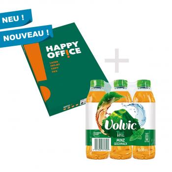 50 Pack mit 25'000 Blatt Happy Office Kopierpapier + 1 Volvic THÉ Pack à 6 Flaschen GRATIS
