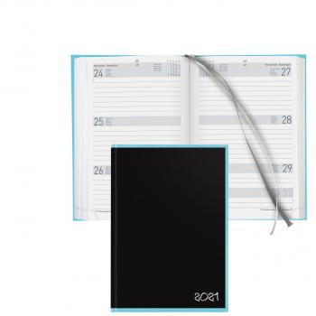 Geschäftsagenda Dispo Term Black Office, 14,5x20,5 cm 3½T/1S schwarz / hellblau , Kunstleder