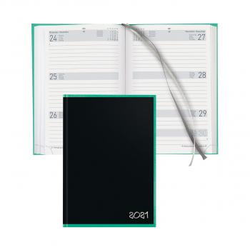Geschäftsagenda Dispo Term Black Office, 14,5x20,5 cm 3½T/1S schwarz / türkis