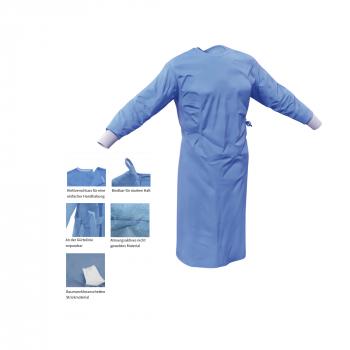 OP-Schürzen aus PP, Level 2, steril, blau 40 g/m2