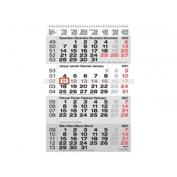 Wandkalender 4-M/ Seite, 31 x 47 cm, grau, 2021, Biella