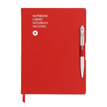 Caran D' Ache Noitzbuch Office, A6, rot inkl. Kugelschreiber Caran D'Ache 849, weiss