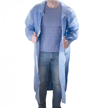 PP-Besuchermantel, blau, 30 g/m2 mit Kragen, Karton mit 60 Stück
