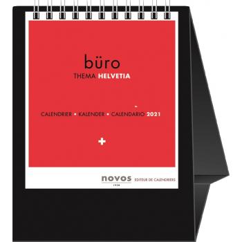 Novos Tischkalender, Bildsteller, Minicolor Suisse, 2021, viersprachig d/f/i/gb, 11.5 x 14.5 cm, schwarz