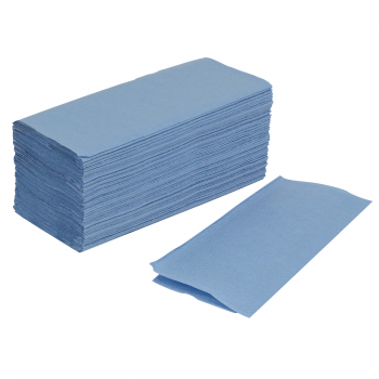 Papierhandtücher 2-lagig, blau, V-Falzung, Karton à 4'000 Stück