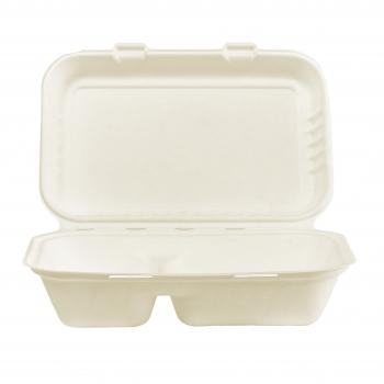 Menü-Box mit Klappdeckel weiss aus Bagasse, 2-teilig, 24.1 x 16.3 cm, 470/300 ml, Pack à 125 Stück