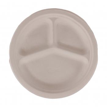 Teller aus Bagasse, weiss, 3- teilig, 26 cm, Pack à 50 Stück