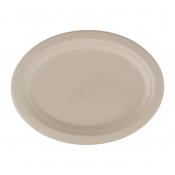 Teller aus Bagasse, weiss, oval, 260 × 200 mm, Pack à 50 Stück