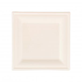 Teller aus Bagasse, weiss, quadratisch, 200 × 200 mm, Pack à 125 Stück