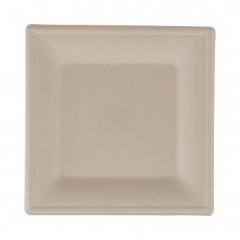 Teller aus Bagasse, weiss, quadratisch, 260 × 260 mm, Pack à 125 Stück