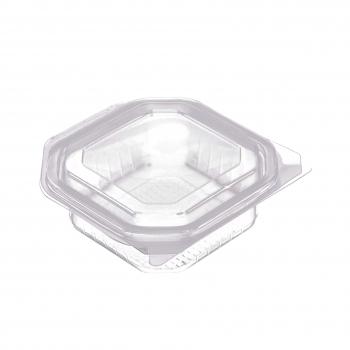 Octobox transparent aus PP mit Klappdeckel, mikrowellentauglich, 13.5 x 13.5 x 5.5 cm, Pack à 50 Stück