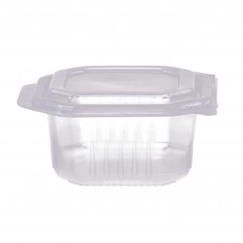 Octobox transparent aus PP mit Klappdeckel, mikrowellentauglich, 13.5 x 13.5 x 7 cm, Pack à 50 Stück