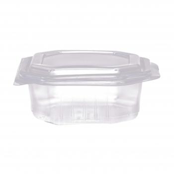 Octobox transparent aus PP mit Klappdeckel, mikrowellentauglich, 16 x 16 x 6.5 cm, Pack à 50 Stück