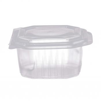 Octobox transparent aus PP mit Klappdeckel, mikrowellentauglich, 16 x 16 x 8 cm, Pack à 50 Stück