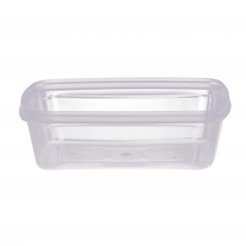 Rechteckdose transparent aus PP, gespritzt, für Deckel, 17.3 x 13.2 x 5.3 cm, mit Originaltätsverschluss, mirkowellent., Karton à 300 Stück