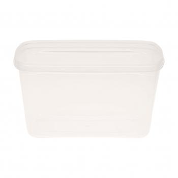 Rechteckdose transparent aus PP, gespritzt, für Deckel, 17.3 x 13.2 x 9.4 cm, mit Originaltätsverschluss, mirkowellenta., Karton à 300 Stück