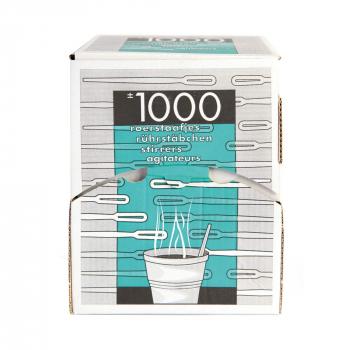 Einweg-Rührstäbchen aus PS, weiss, 11.5 cm, in Spenderbox