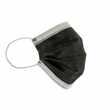 Mundschutzmasken, 3-lagig, Typ IIR, schwarz und weiss, Box à 50 Stück