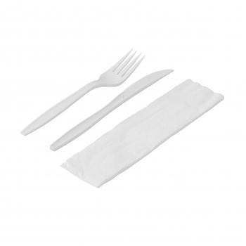 Besteck-Set aus Stärke, weiss, 3- teilig, (Messer, Gabel, Serviette) Pack à 50 Set