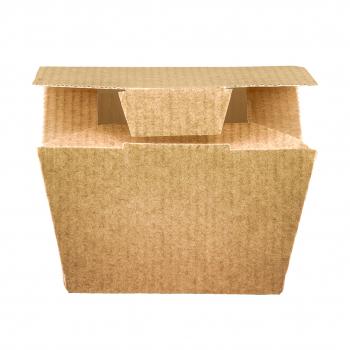 Snack-Box Food to-go small, aus Karton, braun, mit Klappdeckel ohne Fenster