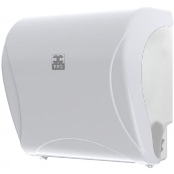 Handtuchrollen-Autocut-Dispenser Essentia, mit Zackenabriss, abschliessbar, weiss/transpartent