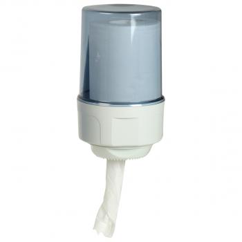 Dispenser für Reinigungsrolle Mini, weiss/blau-transparent, 14.5 x 27 cm