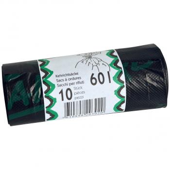 Rolle à 10 Kehrichtsäcke ohne OKS-Signet 60 Liter, schwarz
