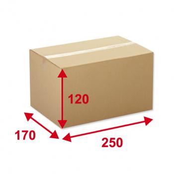 Kartonschachteln braun, Dicke 3mm, 380g/m², 1-Welle, Typ 0201, 250 x 170 x 120mm, unbedruckt