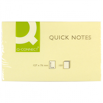 Q-Connect Haftnotizen gelb 76 mm x 127 mm, Pack à 12 x 100 Blatt