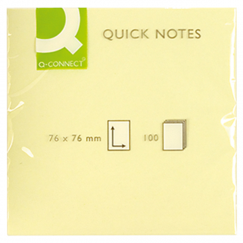 Q-Connect Haftnotizen gelb 76 mm x 76 mm, Pack à 12 x 100 Blatt