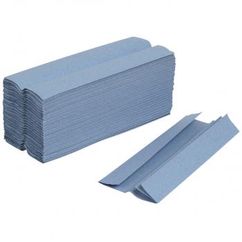 Recycling-Papierhandtücher 1-lagig, blau, C-Falzung, Karton à 3'840 Stück
