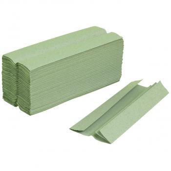Recycling-Papierhandtücher 1-lagig, grün, C-Falzung, Karton à 3'840 Stück