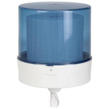 Dispenser für Reinigungsrolle Maxi, weiss/blau-transparent, 33 x 42 cm