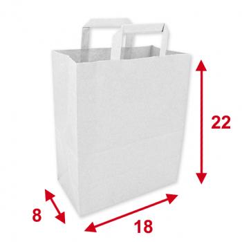 Papiertragetaschen weiss, 18 x 8 x 22 cm, Tragkraft ca. 4 kg, Karton à 250 Stück