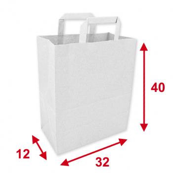 Papiertragetaschen weiss, 32 x 12 x 40 cm, Tragkraft ca. 7.5 kg, Karton à 250 Stück