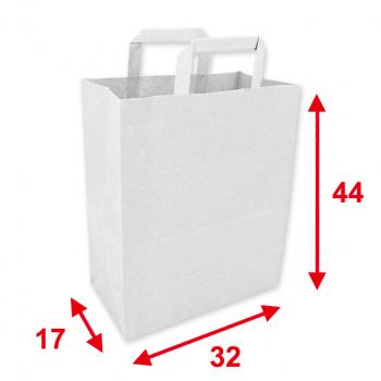 Papiertragetaschen weiss, 32 x 17 x 44 cm, Tragkraft ca. 9 kg, Karton à 250 Stück