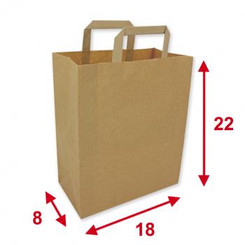 Papiertragetaschen braun, 18 x 8 x 22 cm, Tragkraft ca. 4 kg, Karton à 250 Stück