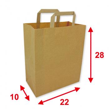 Papiertragetaschen braun, 22 x 10 x 28 cm, Tragkraft ca. 6 kg, Karton à 250 Stück