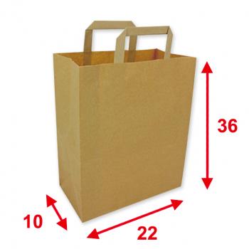 Papiertragetaschen braun, 22 x 10 x 36 cm, Tragkraft ca. 7 kg, Karton à 250 Stück