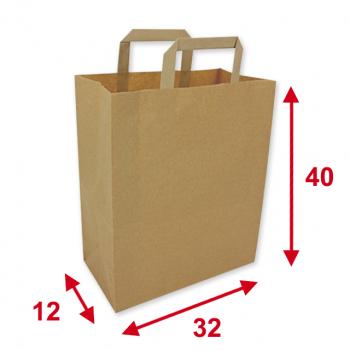 Papiertragetaschen braun, 32 x 12 x 40 cm, Tragkraft ca. 7.5 kg, Karton à 250 Stück